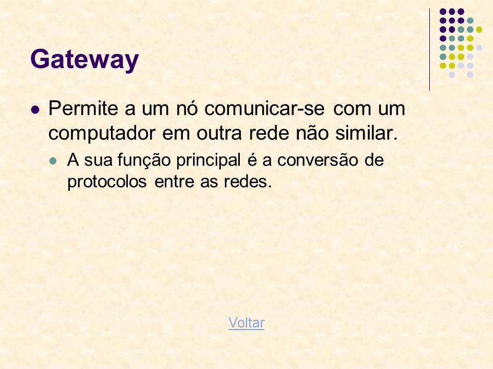Gateway Permite a um nó comunicar-se com um computador em outra rede não similar. A sua função principal é a conversão de protocolos entre as redes. V
