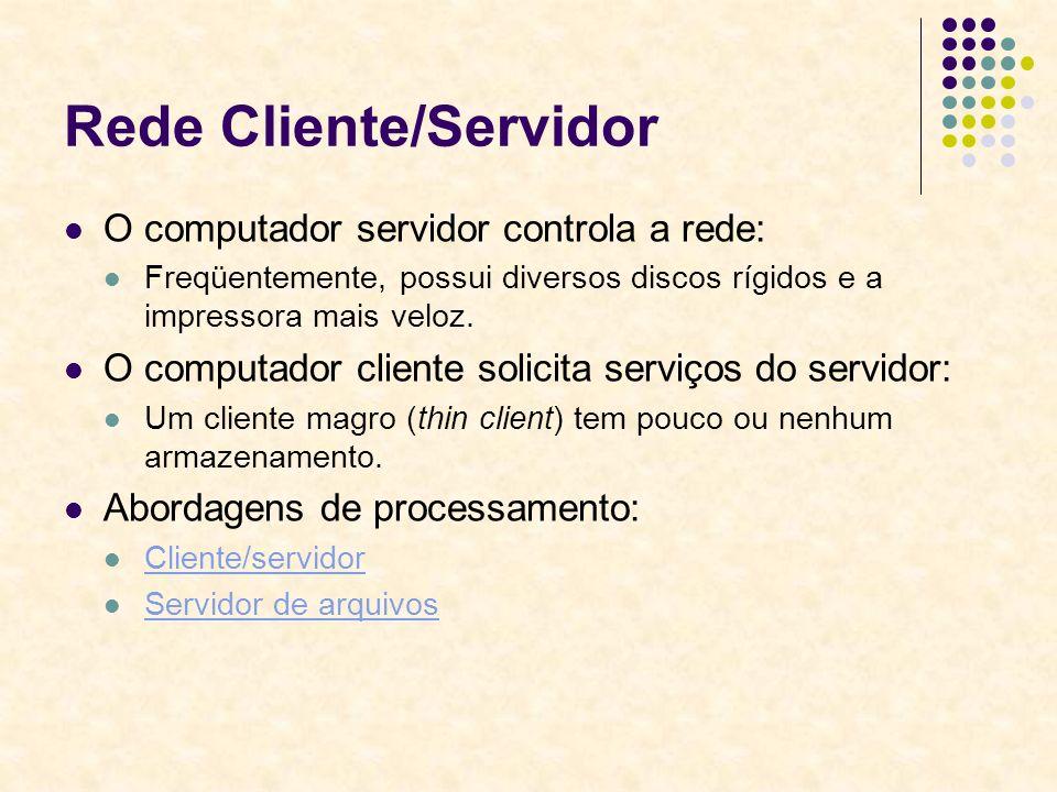 Rede Cliente/Servidor O computador servidor controla a rede: Freqüentemente, possui diversos discos rígidos e a impressora mais veloz. O computador cl