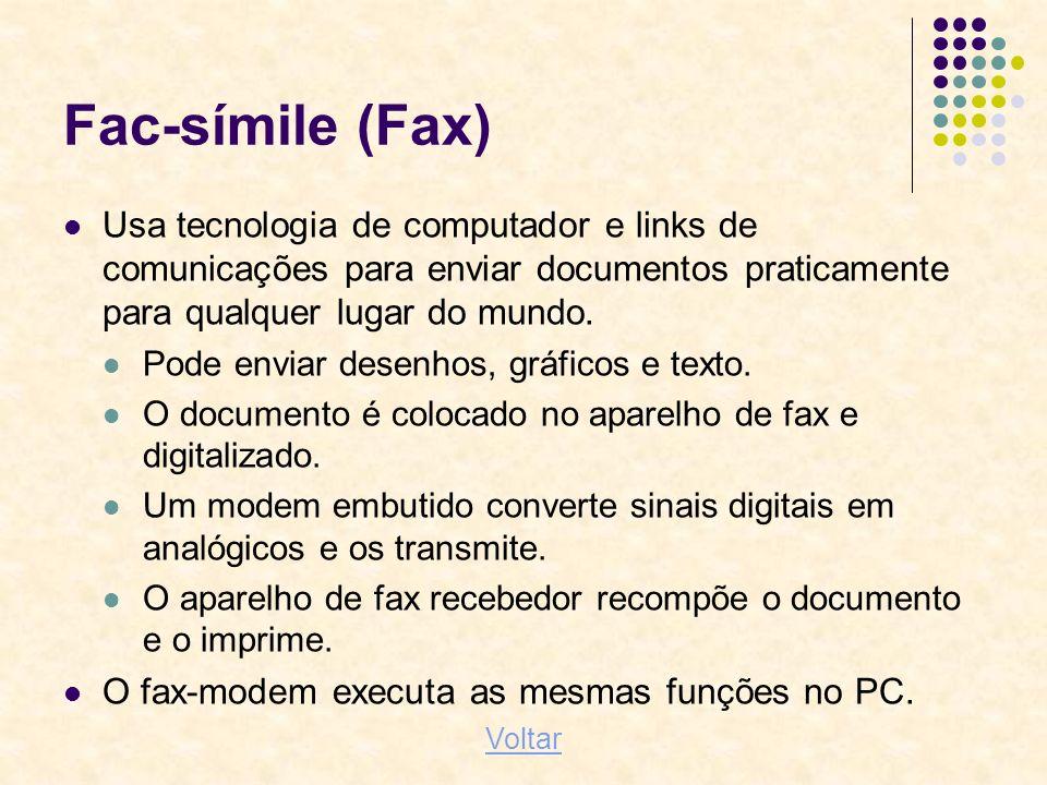 Fac-símile (Fax) Usa tecnologia de computador e links de comunicações para enviar documentos praticamente para qualquer lugar do mundo. Pode enviar de