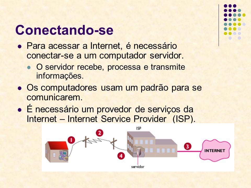 Conectando-se Para acessar a Internet, é necessário conectar-se a um computador servidor. O servidor recebe, processa e transmite informações. Os comp