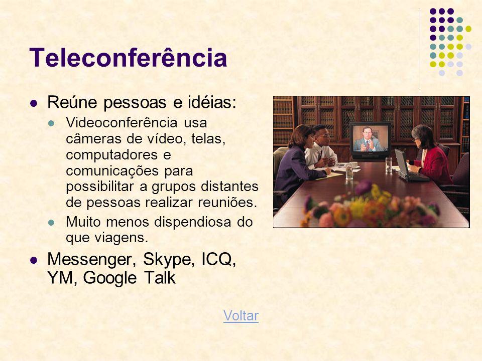 Teleconferência Reúne pessoas e idéias: Videoconferência usa câmeras de vídeo, telas, computadores e comunicações para possibilitar a grupos distantes
