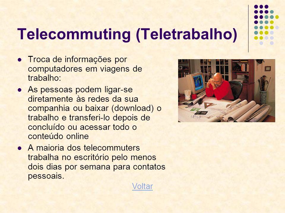 Telecommuting (Teletrabalho) Troca de informações por computadores em viagens de trabalho: As pessoas podem ligar-se diretamente às redes da sua compa