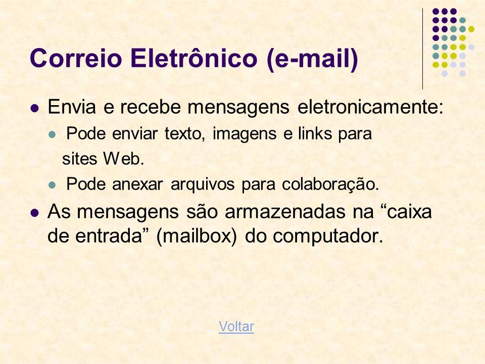 Correio Eletrônico (e-mail) Envia e recebe mensagens eletronicamente: Pode enviar texto, imagens e links para sites Web. Pode anexar arquivos para col