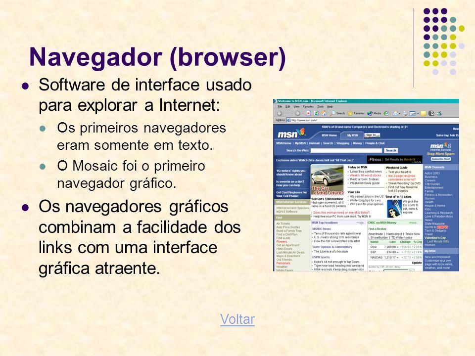 Navegador (browser) Software de interface usado para explorar a Internet: Os primeiros navegadores eram somente em texto. O Mosaic foi o primeiro nave
