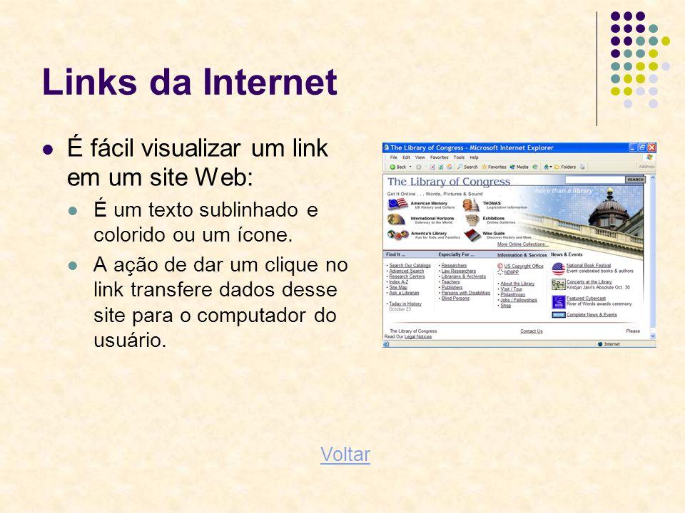 Links da Internet É fácil visualizar um link em um site Web: É um texto sublinhado e colorido ou um ícone. A ação de dar um clique no link transfere d