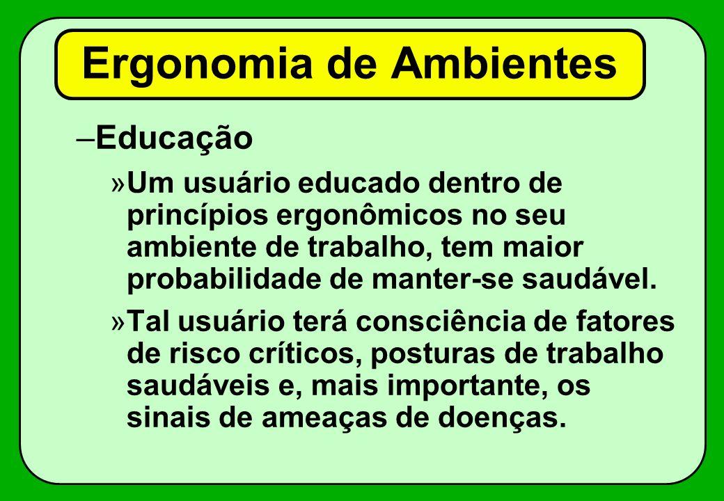 –Educação »Um usuário educado dentro de princípios ergonômicos no seu ambiente de trabalho, tem maior probabilidade de manter-se saudável. »Tal usuári