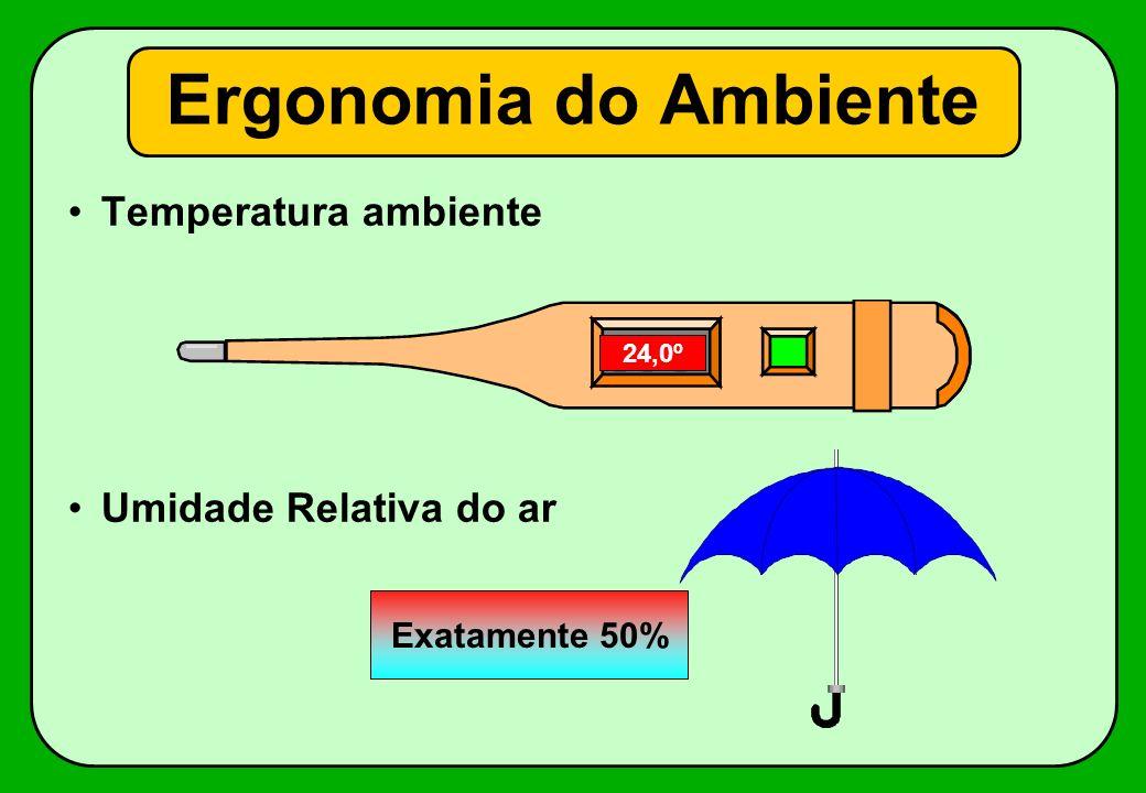 Temperatura ambiente Umidade Relativa do ar Ergonomia do Ambiente 18,0º19,0º20,0º21,0º22,0º23,0º24,0º Exatamente 50%