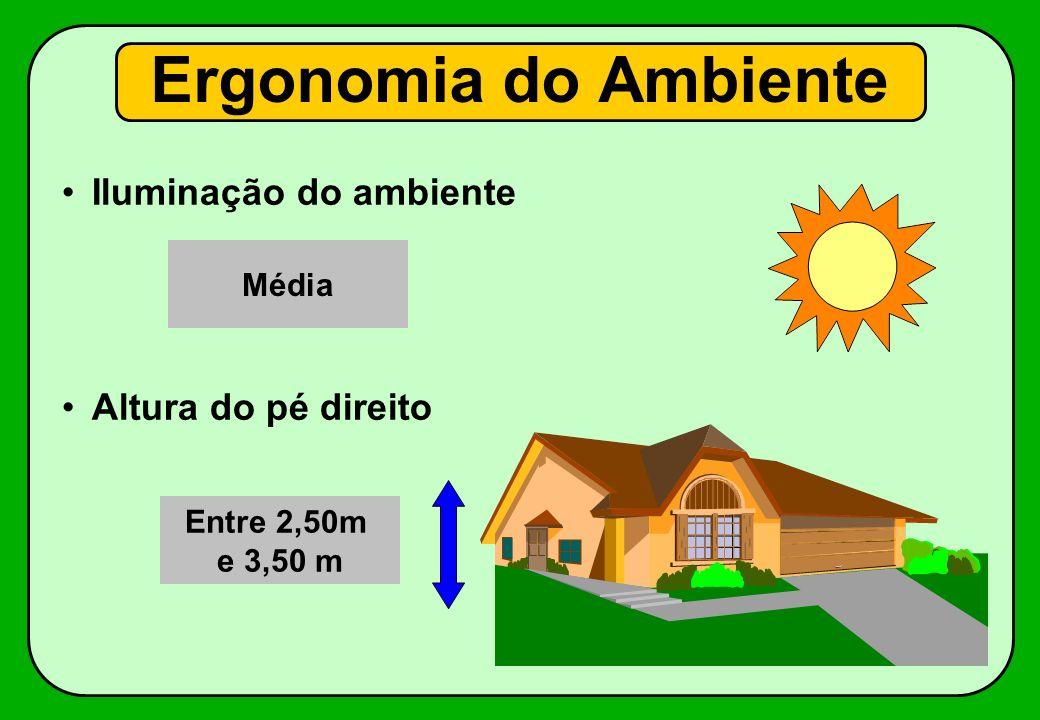 Iluminação do ambiente Altura do pé direito Ergonomia do Ambiente Entre 2,50m e 3,50 m Média