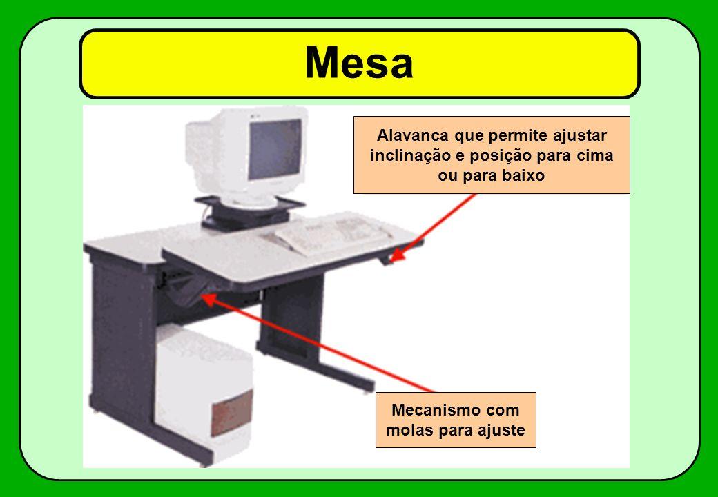 Alavanca que permite ajustar inclinação e posição para cima ou para baixo Mecanismo com molas para ajuste