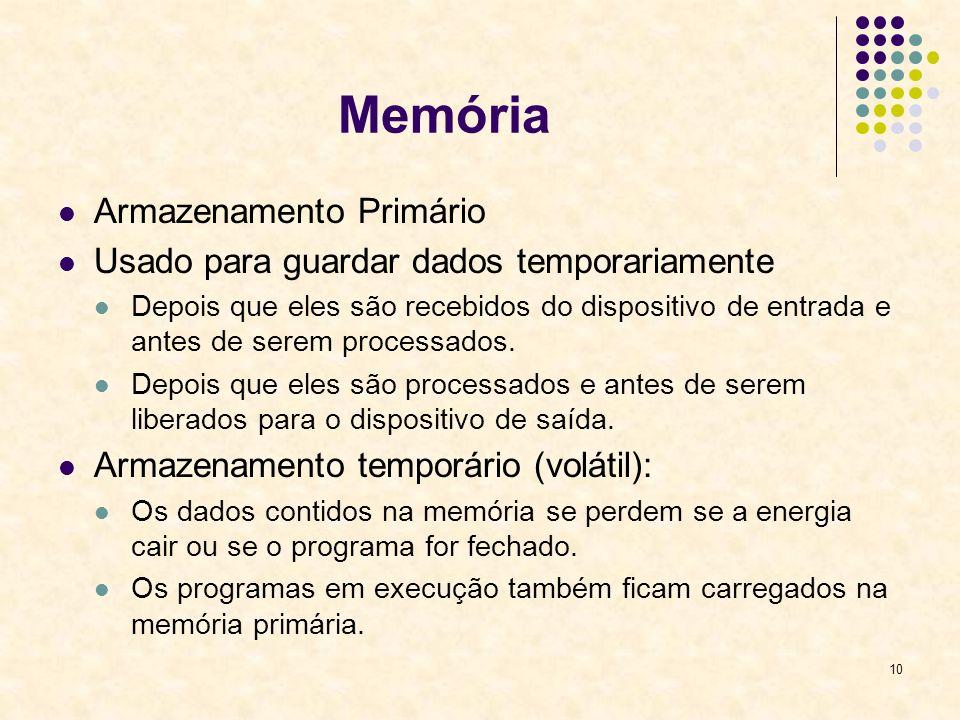 10 Memória Armazenamento Primário Usado para guardar dados temporariamente Depois que eles são recebidos do dispositivo de entrada e antes de serem pr