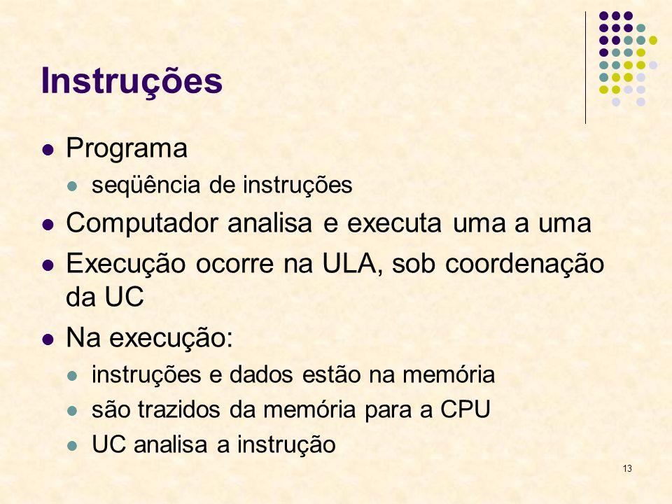 13 Instruções Programa seqüência de instruções Computador analisa e executa uma a uma Execução ocorre na ULA, sob coordenação da UC Na execução: instr