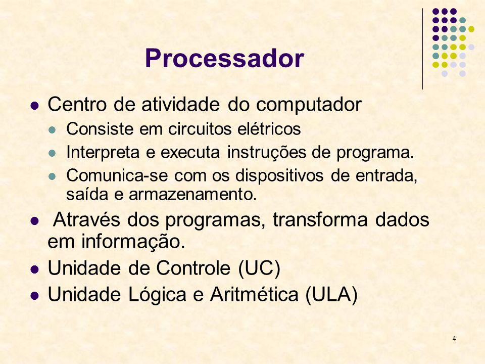 4 Processador Centro de atividade do computador Consiste em circuitos elétricos Interpreta e executa instruções de programa. Comunica-se com os dispos