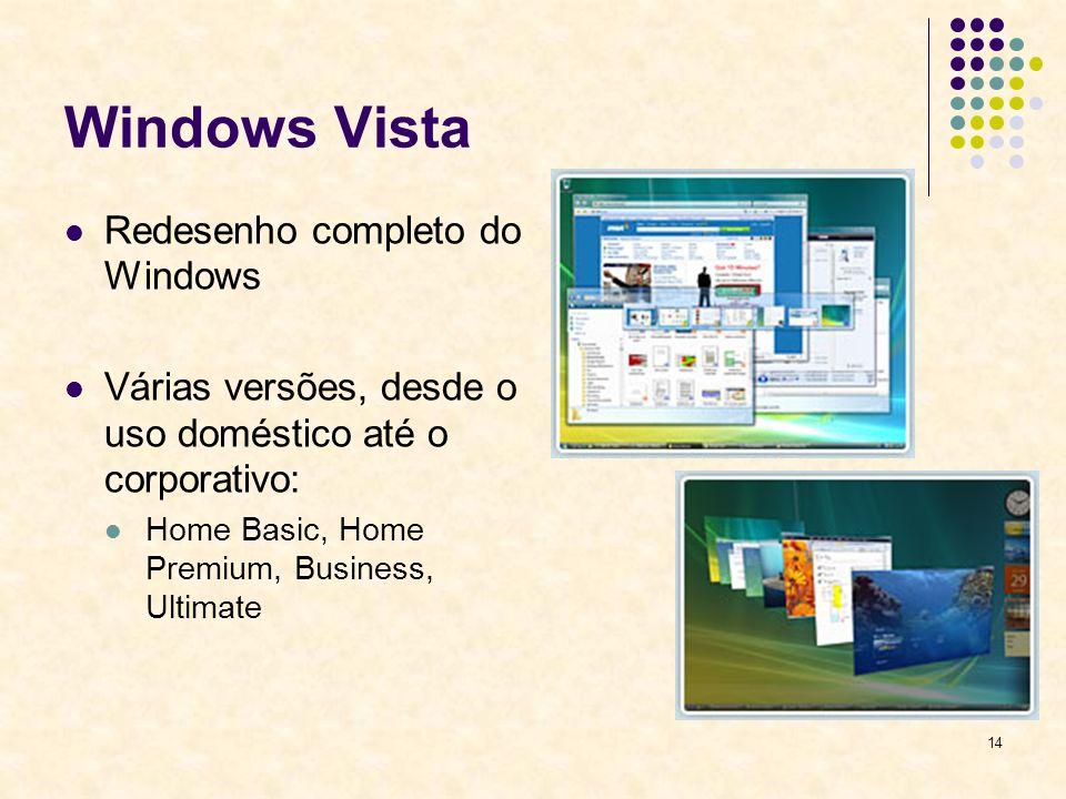 14 Windows Vista Redesenho completo do Windows Várias versões, desde o uso doméstico até o corporativo: Home Basic, Home Premium, Business, Ultimate
