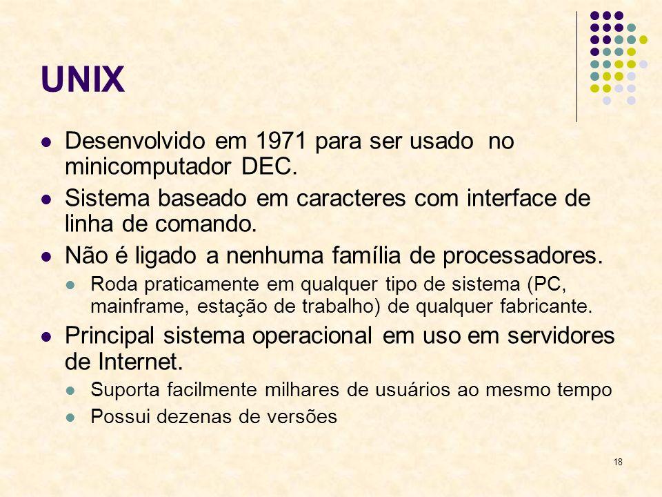 18 UNIX Desenvolvido em 1971 para ser usado no minicomputador DEC.
