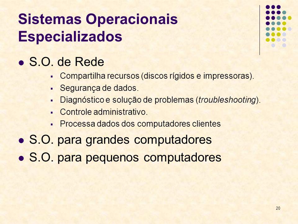 20 Sistemas Operacionais Especializados S.O.
