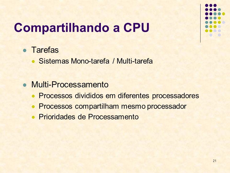 21 Compartilhando a CPU Tarefas Sistemas Mono-tarefa / Multi-tarefa Multi-Processamento Processos divididos em diferentes processadores Processos compartilham mesmo processador Prioridades de Processamento