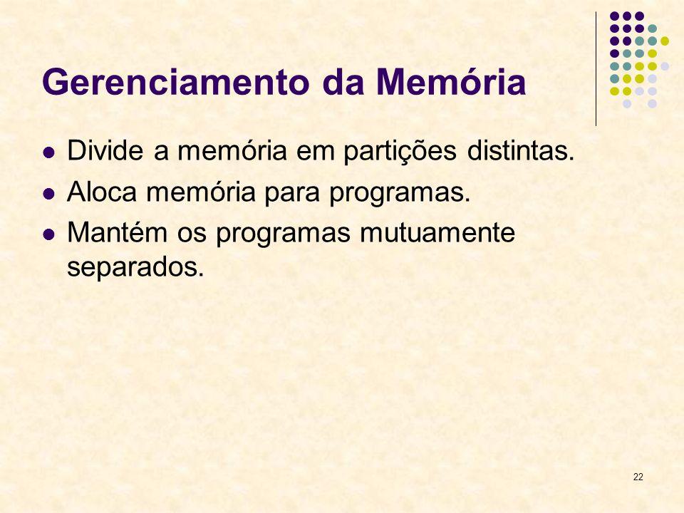 22 Gerenciamento da Memória Divide a memória em partições distintas.