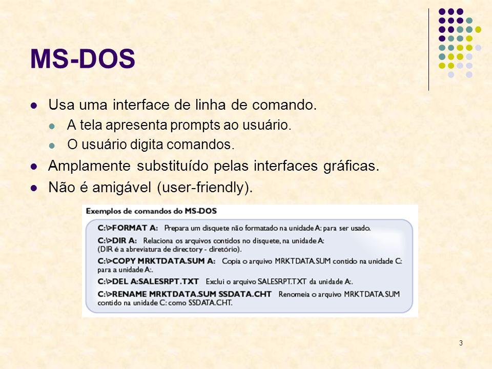 3 MS-DOS Usa uma interface de linha de comando.A tela apresenta prompts ao usuário.