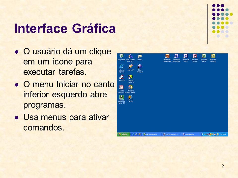 5 Interface Gráfica O usuário dá um clique em um ícone para executar tarefas.