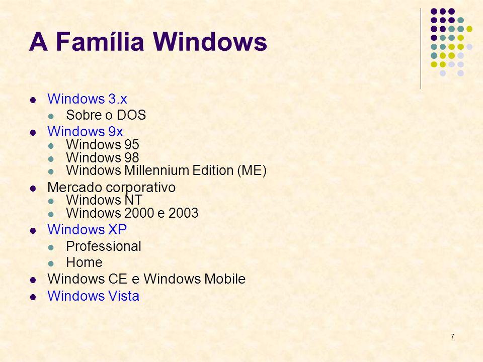 8 Windows 3.x Uma camada adicionada por cima do DOS.