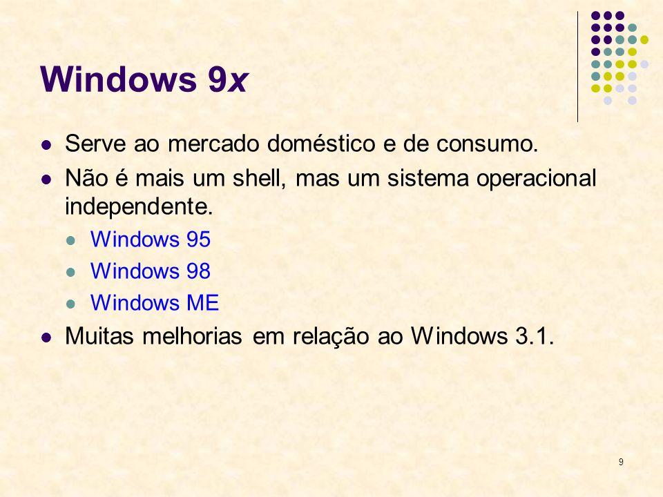 9 Windows 9x Serve ao mercado doméstico e de consumo.