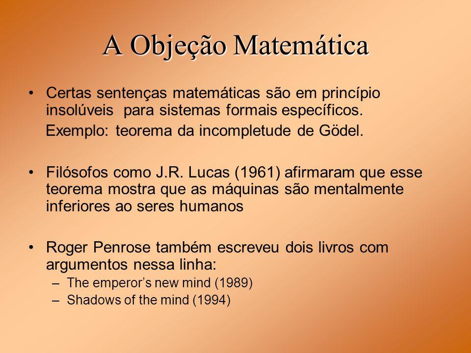 A Objeção Matemática Certas sentenças matemáticas são em princípio insolúveis para sistemas formais específicos. Exemplo: teorema da incompletude de G