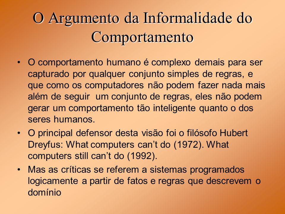 O Argumento da Informalidade do Comportamento O comportamento humano é complexo demais para ser capturado por qualquer conjunto simples de regras, e q