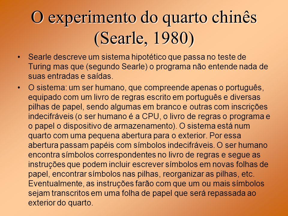 O experimento do quarto chinês (Searle, 1980) Searle descreve um sistema hipotético que passa no teste de Turing mas que (segundo Searle) o programa n