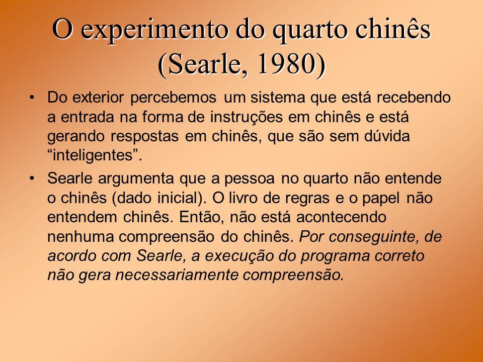 O experimento do quarto chinês (Searle, 1980) Do exterior percebemos um sistema que está recebendo a entrada na forma de instruções em chinês e está g