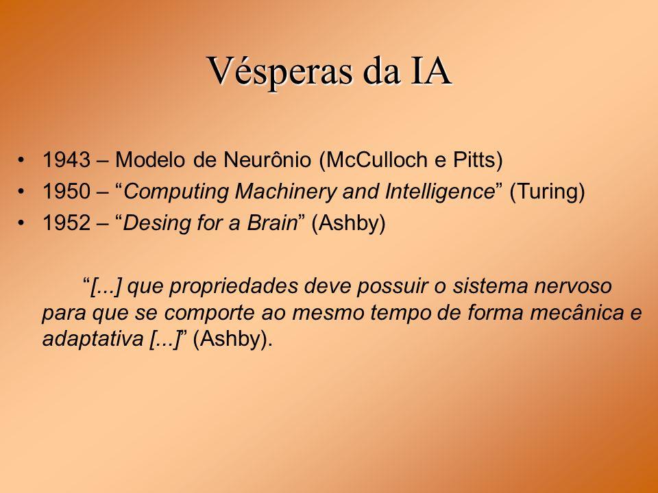 Vésperas da IA 1943 – Modelo de Neurônio (McCulloch e Pitts) 1950 – Computing Machinery and Intelligence (Turing) 1952 – Desing for a Brain (Ashby) [.