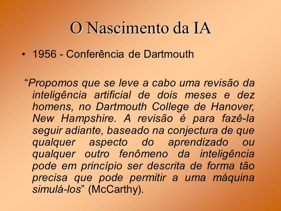 O Nascimento da IA 1956 - Conferência de Dartmouth Propomos que se leve a cabo uma revisão da inteligência artificial de dois meses e dez homens, no D