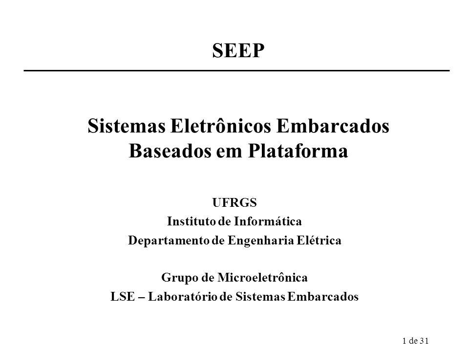 1 de 31 SEEP Sistemas Eletrônicos Embarcados Baseados em Plataforma UFRGS Instituto de Informática Departamento de Engenharia Elétrica Grupo de Microe