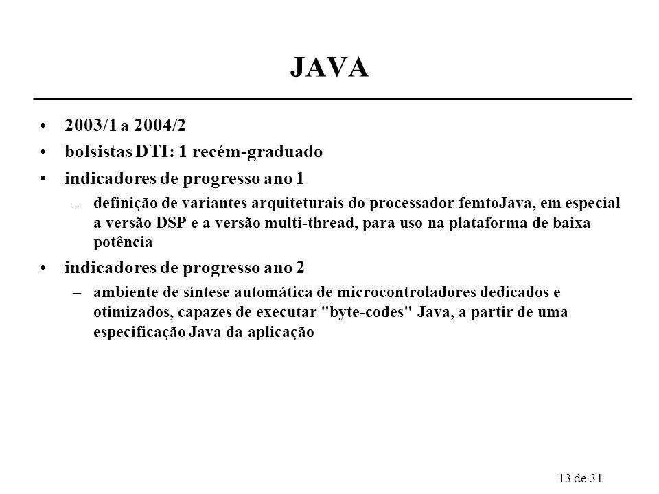 13 de 31 JAVA 2003/1 a 2004/2 bolsistas DTI: 1 recém-graduado indicadores de progresso ano 1 –definição de variantes arquiteturais do processador femt