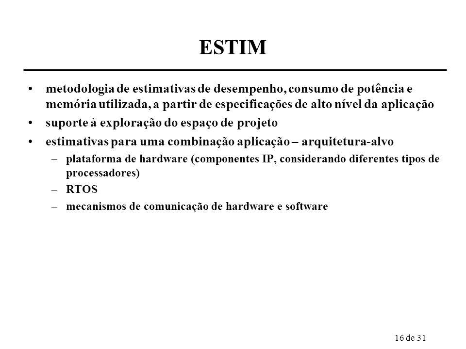 17 de 31 ESTIM 2004/1 a 2005/2 bolsistas DTI: 1 recém-mestre indicadores de progresso ano 2 –levantamento de características físicas de IPs, estruturas de comunicação e software, para obter subsídios para estimação de desempenho, potência e memória em alto nível de abstração indicadores de progresso ano 3 –ferramentas de estimativa de desempenho, potência e memória a partir de especificação de alto nível da aplicação, orientadas para as plataformas definidas no projeto