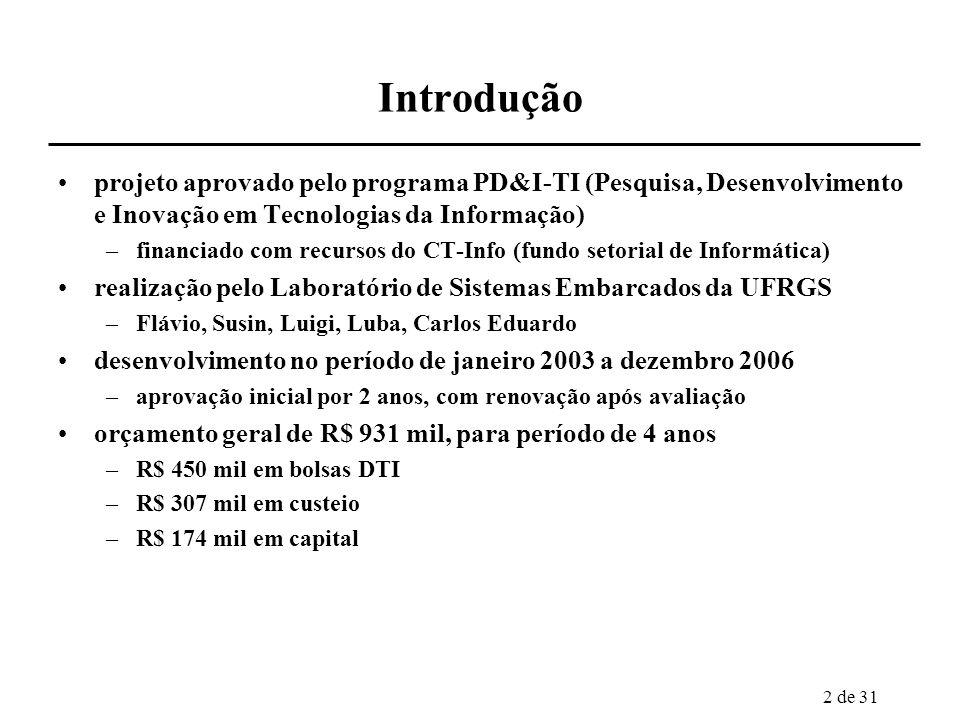 2 de 31 Introdução projeto aprovado pelo programa PD&I-TI (Pesquisa, Desenvolvimento e Inovação em Tecnologias da Informação) –financiado com recursos