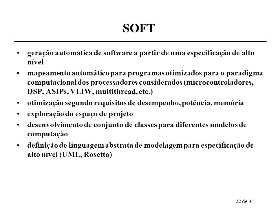 22 de 31 SOFT geração automática de software a partir de uma especificação de alto nível mapeamento automático para programas otimizados para o paradi