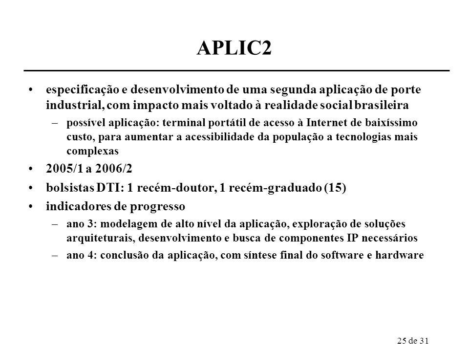25 de 31 APLIC2 especificação e desenvolvimento de uma segunda aplicação de porte industrial, com impacto mais voltado à realidade social brasileira –