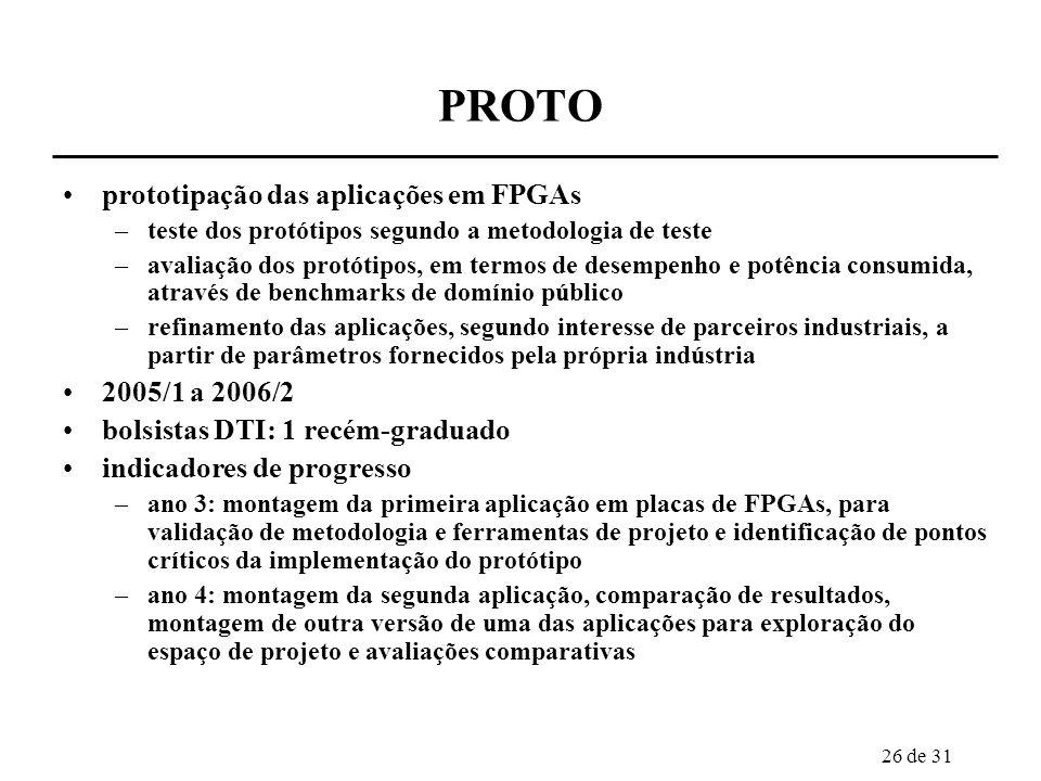 26 de 31 PROTO prototipação das aplicações em FPGAs –teste dos protótipos segundo a metodologia de teste –avaliação dos protótipos, em termos de desem