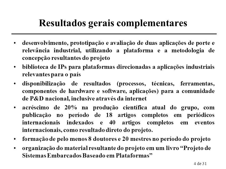 4 de 31 Resultados gerais complementares desenvolvimento, prototipação e avaliação de duas aplicações de porte e relevância industrial, utilizando a p