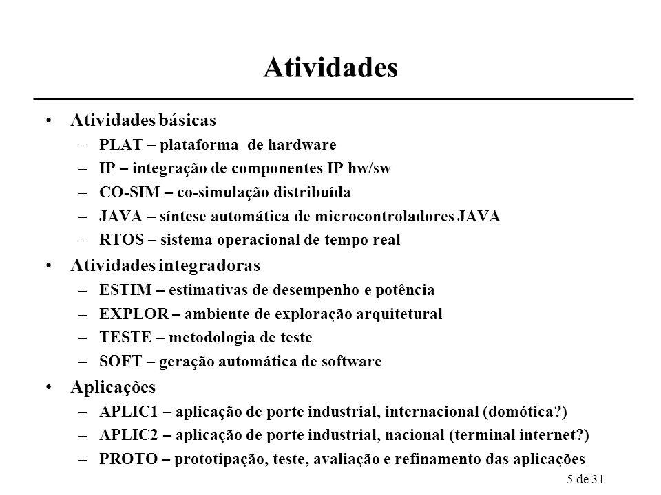 6 de 31 PLAT definição de duas plataformas de hardware para sistemas eletrônicos embarcados complementares, orientadas para as aplicações previstas plataformas incrementam reuso de componentes de hw e sw configuráveis especialmente pelo software da aplicação e pela parametrização de componentes –parametrização em termos de desempenho, potência, área hardware –processadores e blocos dedicados de hardware –estrutura de comunicação dedicada à aplicação –possível substrato: FPGAs software –RTOS