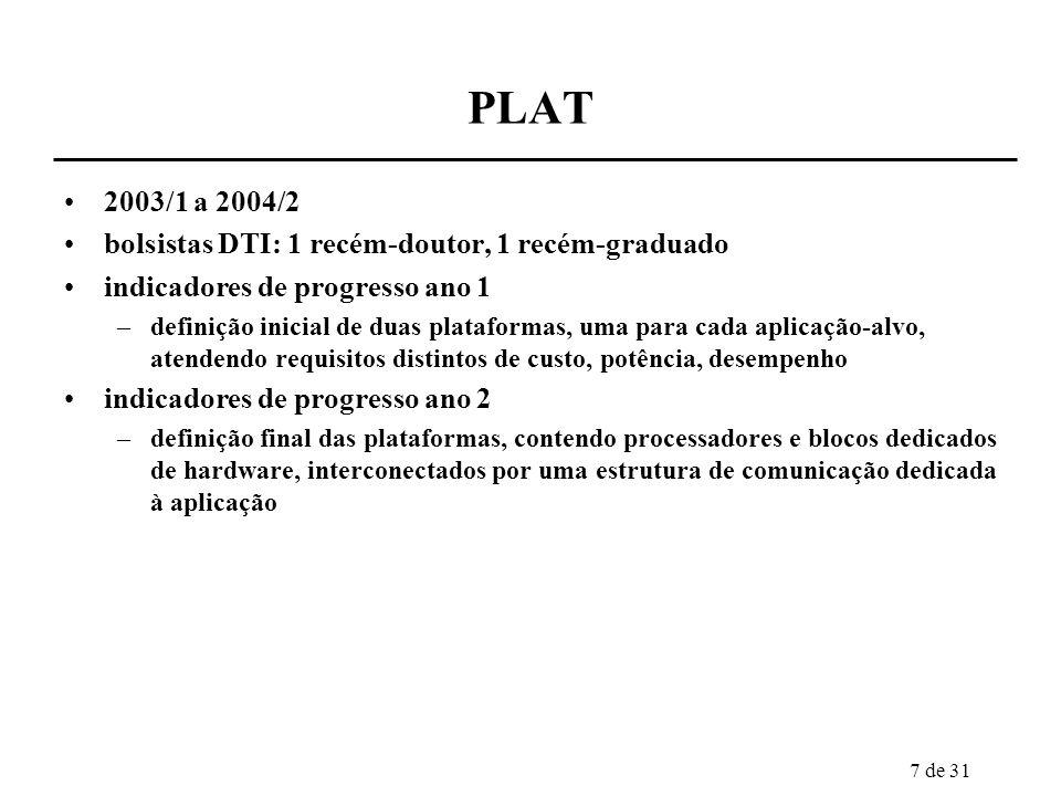 7 de 31 PLAT 2003/1 a 2004/2 bolsistas DTI: 1 recém-doutor, 1 recém-graduado indicadores de progresso ano 1 –definição inicial de duas plataformas, um