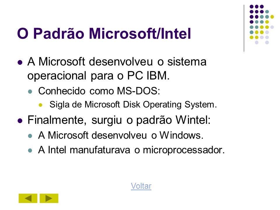 O Padrão Microsoft/Intel A Microsoft desenvolveu o sistema operacional para o PC IBM. Conhecido como MS-DOS: Sigla de Microsoft Disk Operating System.