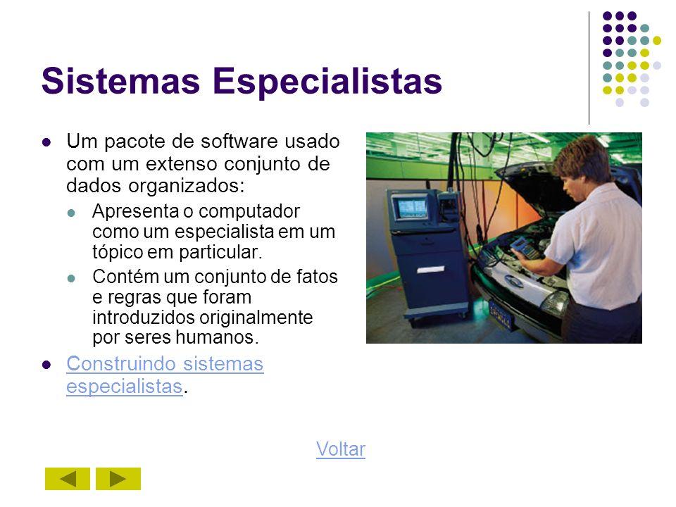 Sistemas Especialistas Um pacote de software usado com um extenso conjunto de dados organizados: Apresenta o computador como um especialista em um tóp
