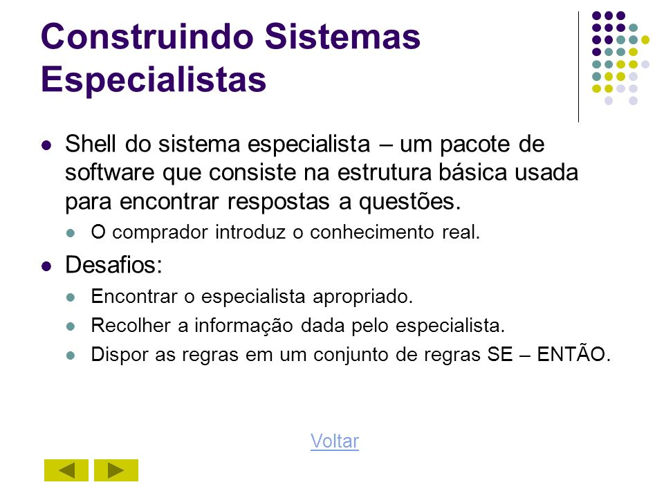 Construindo Sistemas Especialistas Shell do sistema especialista – um pacote de software que consiste na estrutura básica usada para encontrar respost