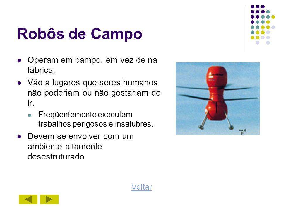 Robôs de Campo Operam em campo, em vez de na fábrica. Vão a lugares que seres humanos não poderiam ou não gostariam de ir. Freqüentemente executam tra