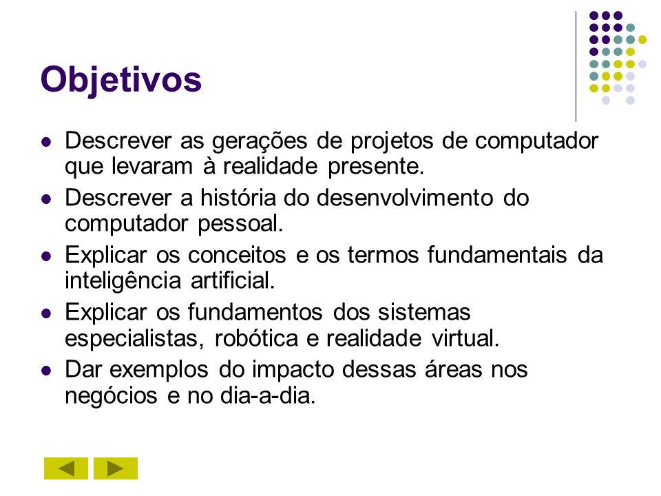 Objetivos Descrever as gerações de projetos de computador que levaram à realidade presente. Descrever a história do desenvolvimento do computador pess