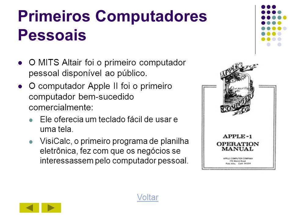 Primeiros Computadores Pessoais O MITS Altair foi o primeiro computador pessoal disponível ao público. O computador Apple II foi o primeiro computador