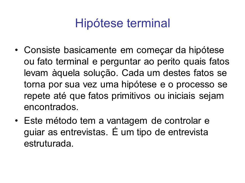 Hipótese terminal Consiste basicamente em começar da hipótese ou fato terminal e perguntar ao perito quais fatos levam àquela solução. Cada um destes