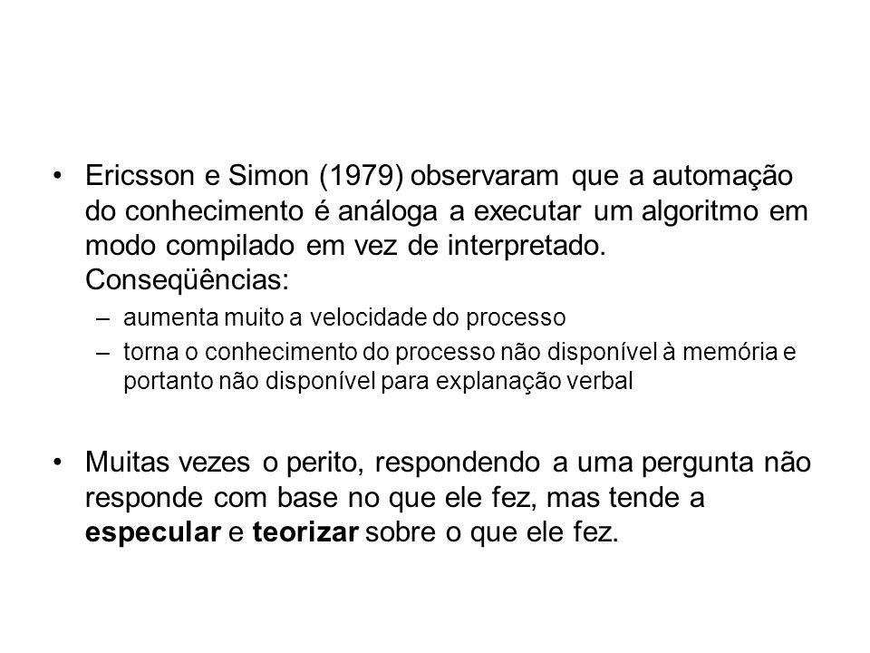 Ericsson e Simon (1979) observaram que a automação do conhecimento é análoga a executar um algoritmo em modo compilado em vez de interpretado. Conseqü
