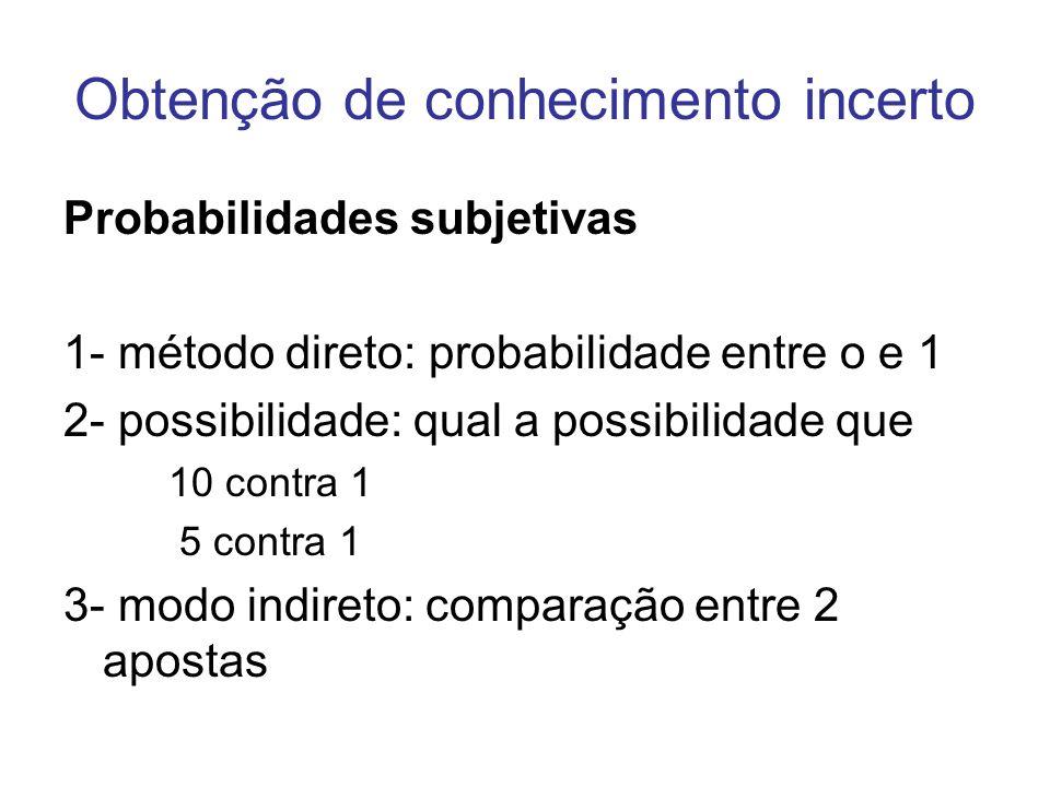 Obtenção de conhecimento incerto Probabilidades subjetivas 1- método direto: probabilidade entre o e 1 2- possibilidade: qual a possibilidade que 10 c